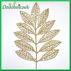Liść brokatowy ażurowy 1 szt. złoty