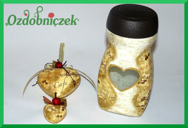 dekoracyjne serca z motywem kawowym