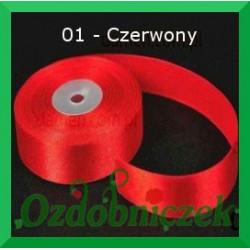 Satynowa wstążka, tasiemka 25mm czerwona 01 SZTYWNA