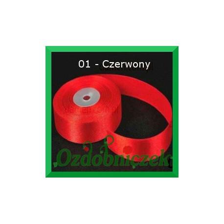 Tasiemka satynowa 25mm czerwona 01 SZTYWNA