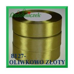 Wstążka tasiemka satynowa 25mm kolor oliwkowo złoty 8127