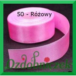 Wstążka tasiemka satynowa 25mm różowa 50 SZTYWNA