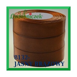 Wstążka tasiemka satynowa 25mm kolor jasny brąz 8132