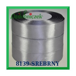 Wstążka tasiemka satynowa 25mm kolor srebrny 8139