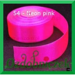 Wstążka tasiemka satynowa 25mm neon pink 54 SZTYWNA