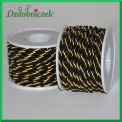 Sznurek oplatany 3 mm czarno-złoty