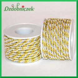 Sznurek oplatany 3 mm biało-złoty z perełkami