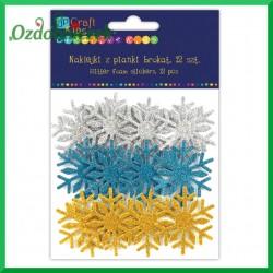 Naklejki brokatowe śnieżynki trzy kolory