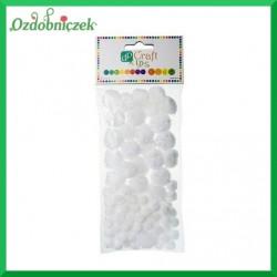 Pompony opalizujące białe 85 szt.