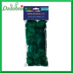 Pompony puszyste mix rozmiarów ciemno zielone
