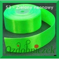 Tasiemka satynowa 25mm zielony neonowy 53 SZTYWNA
