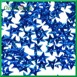 Cekiny gwiazdki laserowe niebieskie wypukłe