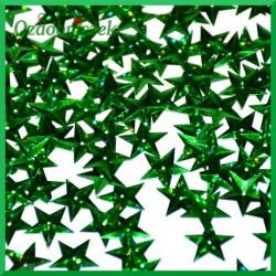 Cekiny gwiazdki laserowe zielone wypukłe 17g