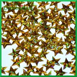 Cekiny gwiazdki laserowe złote wypukłe