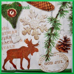Serwetka do decoupage szyszki łoś god jul
