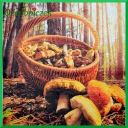 Serwetka do decoupage grzyby w koszyku