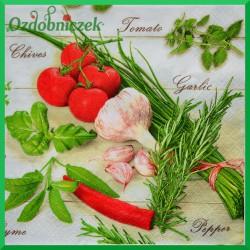 Serwetka do decoupage czosnek pomidor papryka