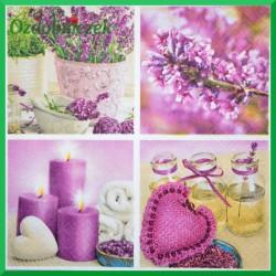 Serwetka do decoupage fioletowe serca świece kwiatki