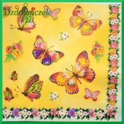 Serwetka do decoupage motylki na żółtym tle