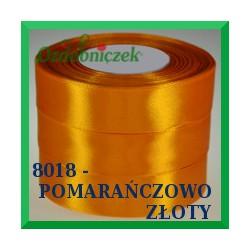 Tasiemka satynowa 12mm kolor pomarańczowo złoty 8018