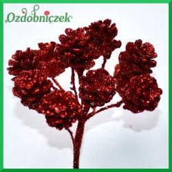Czerwone szyszki brokatowe na druciku 2cm/12szt.