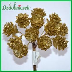 Złote szyszki brokatowe na druciku 2cm/12szt.