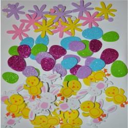 Naklejki z pianki wielkanocne jajka brokat, zwierzątka, stokrotki 80 szt PVE03