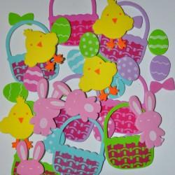 Naklejki z pianki wielkanocne kurczaczki, króliczki, koszyczki i pisanki 36szt PVE 05