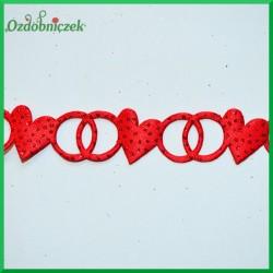 Brokatowo-czerwone serca z obrączkami ROLKA 9mb