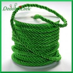 Sznurek oplatany zielony 7 mm / 13,5 mb