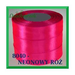Wstążka tasiemka satynowa 25mm kolor neonowy róż 8040
