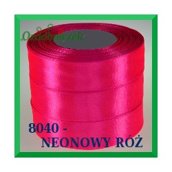 Tasiemka satynowa 25mm kolor neonowy róż 8040