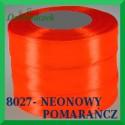 Wstążka tasiemka satynowa 25mm kolor neonowy pomarańcz 8027