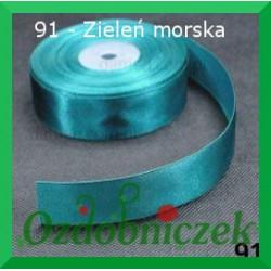 Wstążka tasiemka satynowa 25mm zieleń morska 91 SZTYWNA