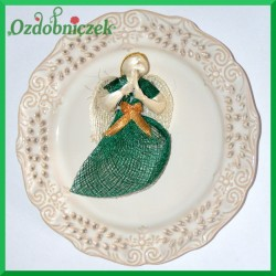 Aniołek 10cm zielono-biały siatka 3147