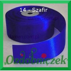 Wstążka tasiemka satynowa 25mm szafirowa 14 sztywna