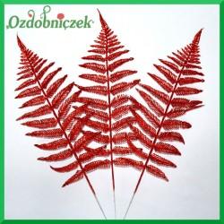 Liść brokatowy paproci 1 szt. czerwony