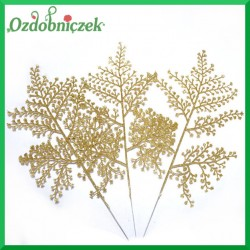 Liść brokatowy rumianku 1 szt. złoty