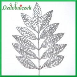 Liść brokatowy ażurowy 1 szt. srebrny