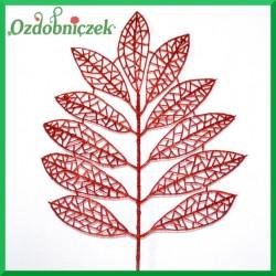 Liść brokatowy ażurowy 1 szt. czerwony