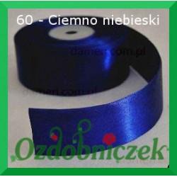 Wstążka tasiemka satynowa 25mm ciemnoniebieska 60 SZTYWNA
