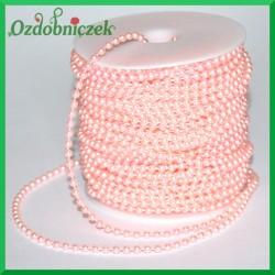 Perełki na sznurku 4 mm różowe 1mb
