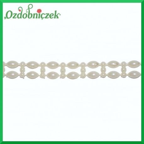 Podwójne perełki na sznurku ecru 1mb