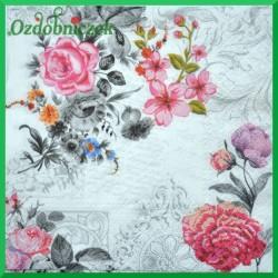 Serwetka do decoupage kwiaty szaro-różowe