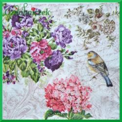 Serwetka do decoupage bukiet kwiatów i ptak