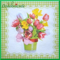 Serwetka do decoupage bukiet kwiatów w doniczce