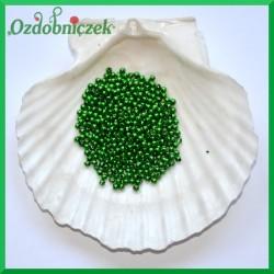 Perełki 3mm ciemne zielone metaliczne