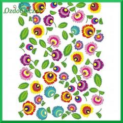 Papier ryżowy A4 - kwiaty łowickie R309