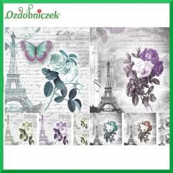 Papier do decoupage KLASYCZNY A4 - Paryż i róże D0459M
