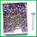 Szpilki z perłową główką 4mm liliowe